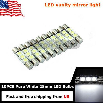 10PCS Cool White 28mm 3SMD 6614F LED Bulbs For Car Sun ...