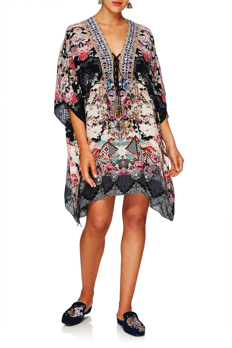 New CAMILLA FRANKS SILK SWAROVSKI NIGHTS WITH HER LACE UP KAFTAN TOP layby avail