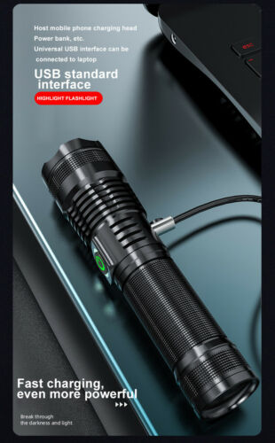 80000lm XHP50 Tactical LED Flashlight Torch USB Charging 5 Modes Zoomable