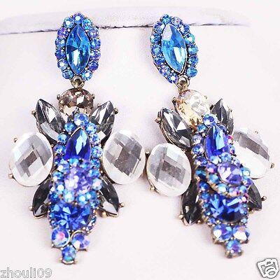 gorgeou Design Lady Bib Statement clear crystal long Ear Studs earrings hot e521