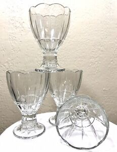 Vintage-Bormioli-Rocco-Dessert-Sundae-Sherbet-Glasses-Drinking-Clear-Set-of-4