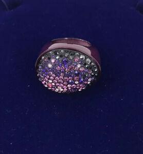 Swarovski-Cluster-Ring-Purple-Diamante-Ladies-Size-55