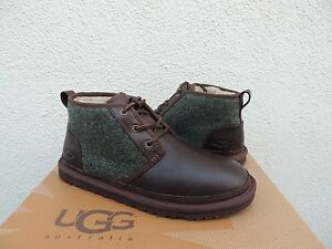 Image is loading UGG-NEUMEL-WOOLRICH-DONEGAL-LEATHER-SHEEPSKIN-CHUKKA-BOOTS-