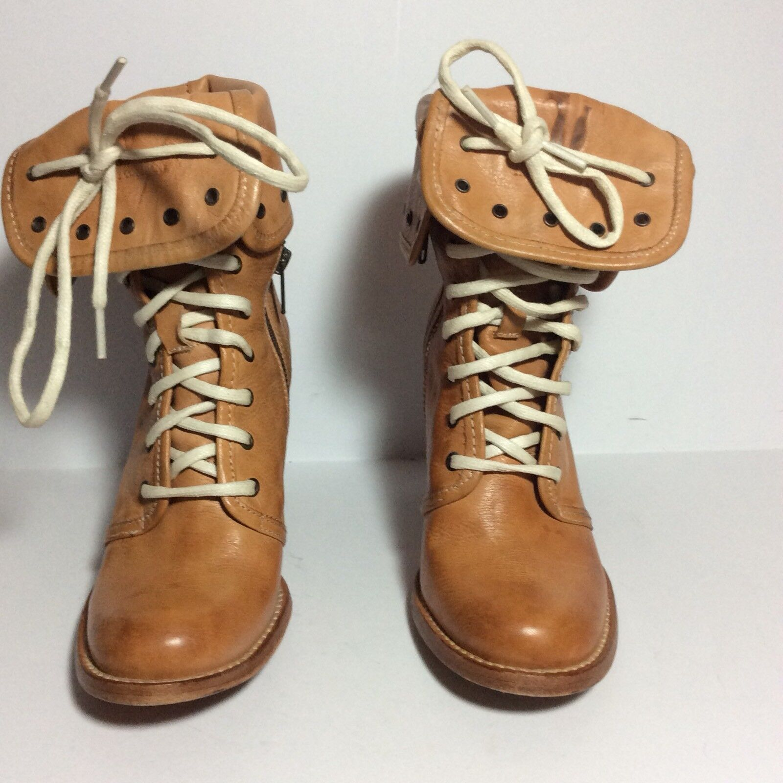 Frye 298 Julia Grommet Lace Ankle Boots Sz 6B Tan GUC HTF