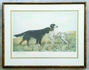 LEON-DANCHIN-English-Setter-Hunting-Dogs-Plate-Signed-Antique-1950-039-s-Lithograph