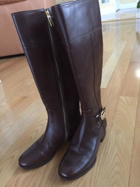 8e094888f NWT MICHAEL KORS HARLAND RIDING BOOTS Mocha Brown Leather Wide Shaft 7M 37  $199