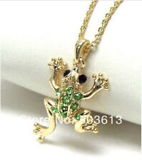 FREE GIFT BAG Gold Plated Rhinestone Crystal Frog Toad Necklace Chain Jewellery