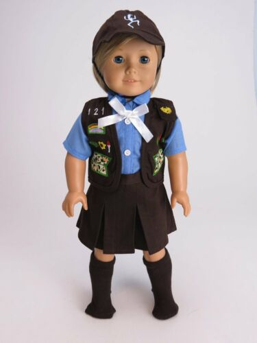 "Brownie Girl Scout Uniform Costume For 18/"" American Girl Doll Clothes 5 PC Set"