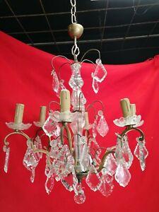 Lustre Pampilles 6 Lumières Cristal Ancien H65cm D50cm éclairage Suspensions Pour Convenir à La Commodité Des Gens