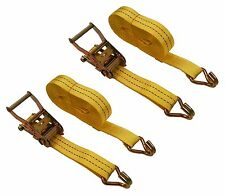 """2 Pc 1-1/2"""" inch x 27' Ft Ratchet Tie Down Cargo Straps 4000 Lbs J Hooks 2 pack"""
