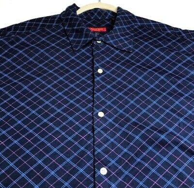 New Austin Reed London Men S Short Sleeve Button Up Shirt Xl Blue Pink Diamond Ebay
