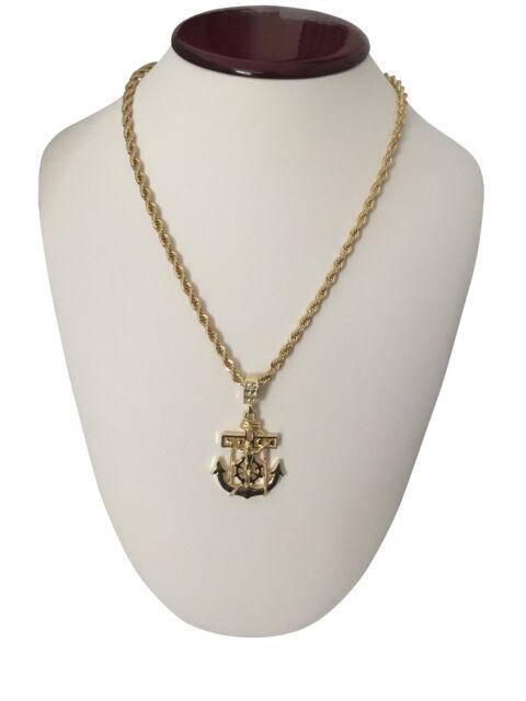 Mens 14k gold gp hip hop jesus cross anchor pendant necklace w 30 mens 14k gold gp hip hop jesus cross anchor pendant necklace w 30 rope aloadofball Image collections