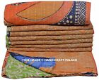 Indian Handmade Kantha Quilt Reversible Twin size Bedspread Throw Bedspread