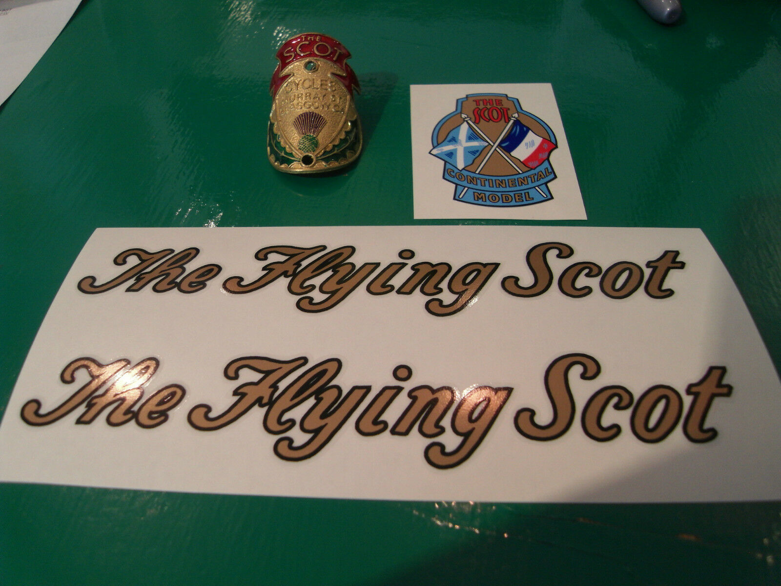 Vintage FLYING SCOT decals AND METAL HEAD BADGE  Full set, beautiful art & paint