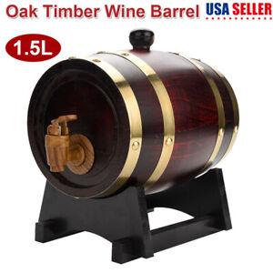 Oak-Barrel-1-5L-Wooden-Small-Barrel-Whiskey-Beer-Keg-Wine-Storage-Cask-Stand