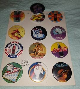 VINTAGE-Lot-of-12-Coca-cola-Buttons-On-Cardboard-Very-Rare-And-unique-Buttons