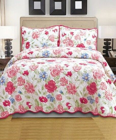 Glory Home Designs 3 piece KING  Reversible Quilt Coverlet& Shams. Emma pink NEW