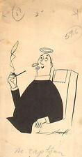 "Brie Starke ~ Priest Blowing Smoke Ring - 1949 (4 x 7"")"