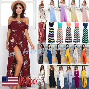 US-Women-Boho-Maxi-Long-Dress-Evening-Cocktail-Party-Summer-Beach-Sun-Dress-New