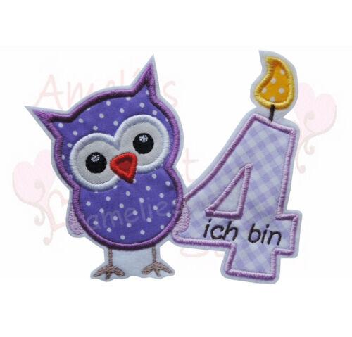 Eule mit Zahl Geburtstag Aufbügler Aufnäher Bügelbild Patch owl lila flieder