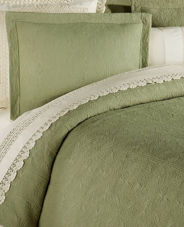 SAGE GREEN Twin. Full Queen, KIng QUILT or Sham - 100% COTTON MATELASSE COVERLET