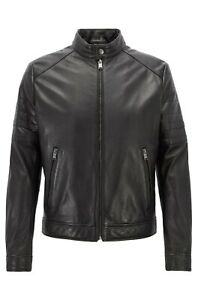 Hugo-Boss-Lederjacke-Biker-Look-Gelimi-Leather-Jacket-48-schwarz-black-NEW