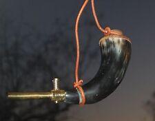 New Genuine Buffalo & Brass Working Black Powder Horn Leather Strap Polished.