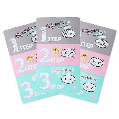 [HOLIKA HOLIKA]  Pig Nose Clear Black Head 3 Step Kit * 3pcs / Korean cosmetics