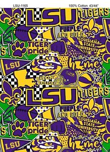 lsu fabric cotton tigers pop yard university graffiti louisiana state ncaa 1165 stencil fleece skull material inches wide cart