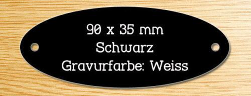 90 x 35 mm Namensschild Oval Türschild Schwarz//Weiß Schild mit Gravur