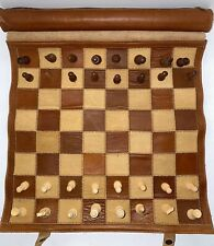Sondergut Chess//Checkers Roll-Up Travel Set Leather