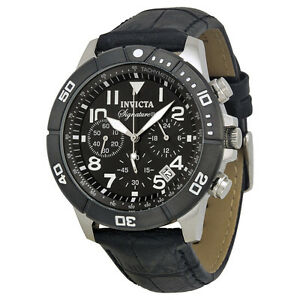 Invicta-Signature-II-Chronograph-Black-Dial-Leather-Strap-Mens-Watch-7345