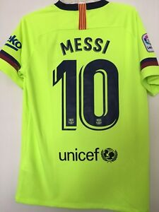 low priced 36868 1e359 Details about Barcelona Away Leo Messi 2018-2019 Official Soccer Jersey