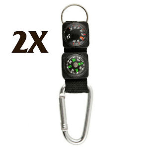Multifunction Camping Mini Carabiner w//Keychain Compass Thermometer Key 3 in 1