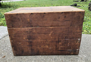 VTG MID-LATE 19TH.c AMERICAN PRIMITIVE ANTIQUE WOOD TOOL STORAGE BOX W/NUT BROWN