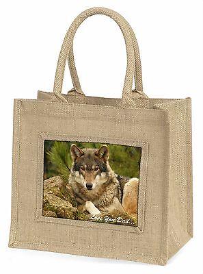 Wild Wolf 'Liebe dich Papa' Große Natürliche Jute-einkaufstasche Weihnachten G,