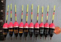 10 Wood Slip Floats / Bobbers Panfish Ice Fishing No Freeze Up On Line B30