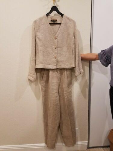 Finity-Beppa Khaki Linen Pant Suit (size 4S).