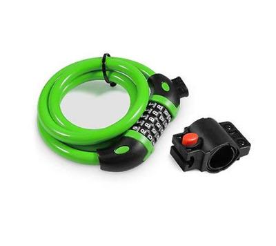 GREEN Bike Lock 4-Feet Bike Cable Lock Self Coiling Resettable 5-Digit Combo