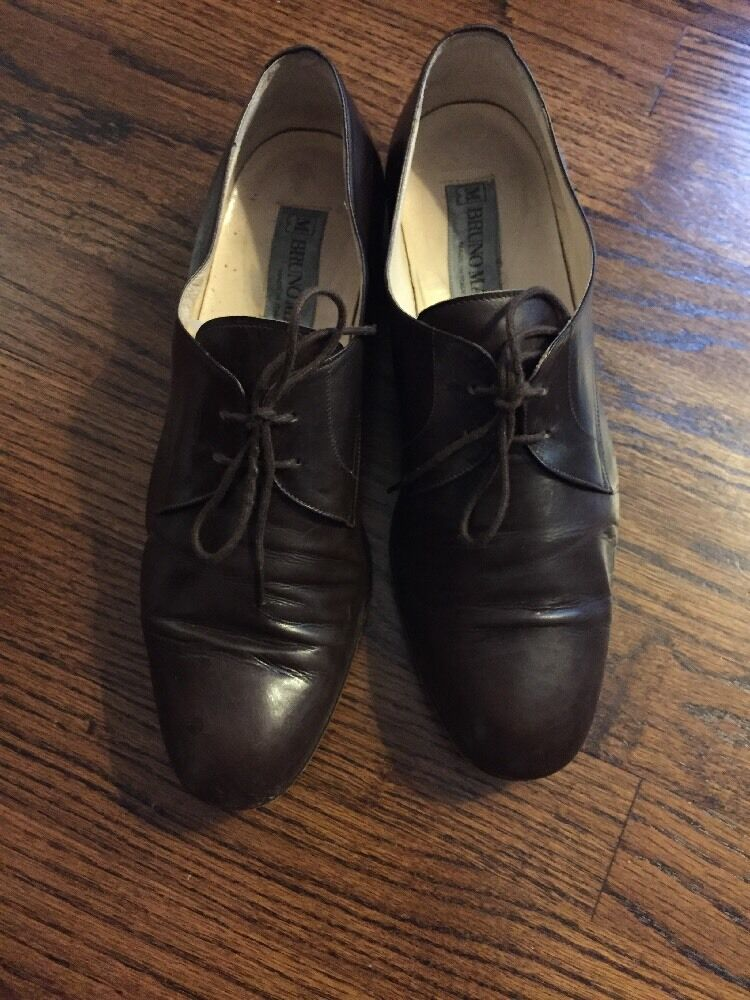 Vintage BRUNO Magli Lace Up Brown Leather 9 Men's