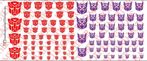 Transformateur et Decepticons Logos-Waterslide Decals Divers Tailles DECALS