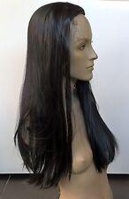 JET BLACK dritto mezza testa parrucca di capelli lunghi capelli Pezzo Fascia Per Costume