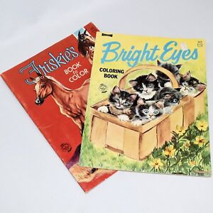 Vintage-Coloring-Books-ArtCraft-Friskie-039-s-and-Bright-Eyes-Unused-1970s