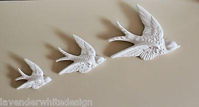 5 x Vintage Retro Wall Hanging Flying Swallows Bird White Ceramic Set of 3