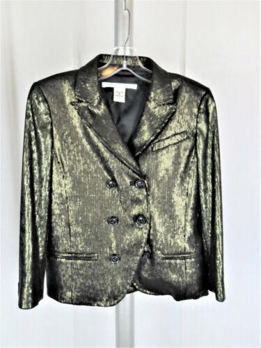 Diana Von Furstenberg Metallic Green Blazer Size 4