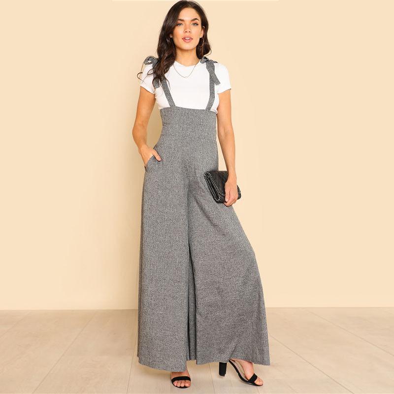 Women Jumpsuit Self Tie Strap Wide Leg Rompers Grey Sleeveless High Waist Loose