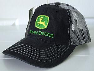 John Deere Black Denim & Mesh Field Hat Cap Adjustable