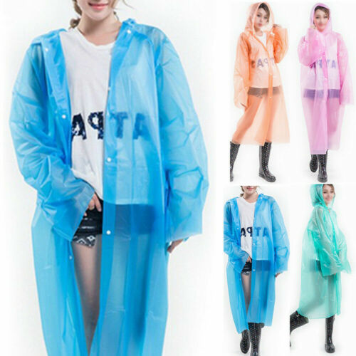 Women New Festival Jacket Waterproof Poncho Men/'s Clear Transparent Hooded Coat
