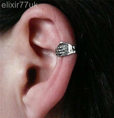 NEW SILVER ZOMBIE SKELETON SKULL HAND EAR CUFF HELIX CARTILAGE CLIP-ON EARRING