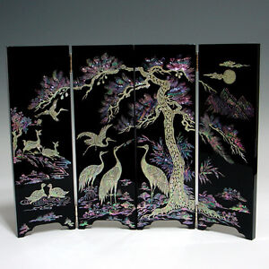 Image Is Loading Mother Of Pearl Inlay Wooden Mini Folding Screen